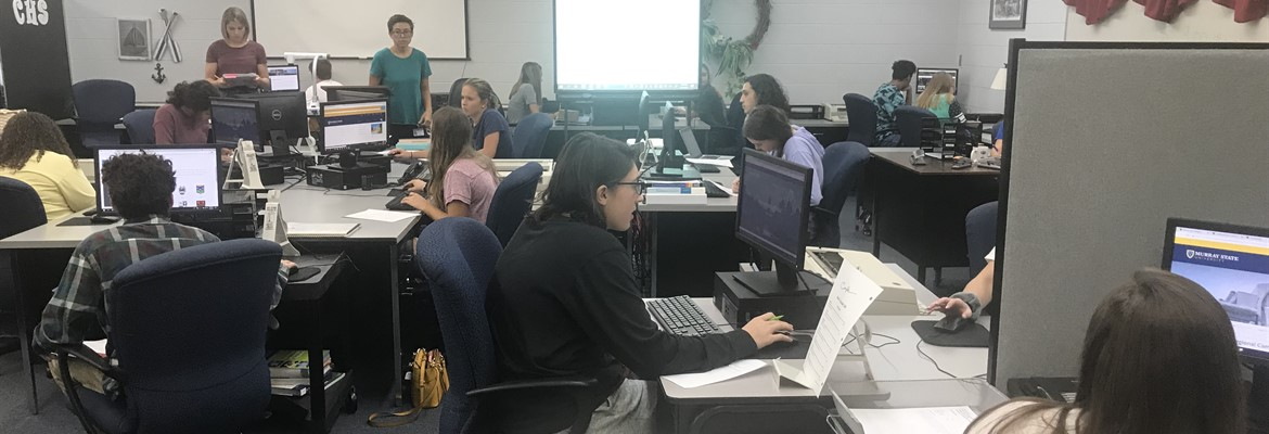 Students in Mrs. Stubblefield's business class were a beta test group for Murray State's Marketing and Webmaster Departments to test out the new MSU website.