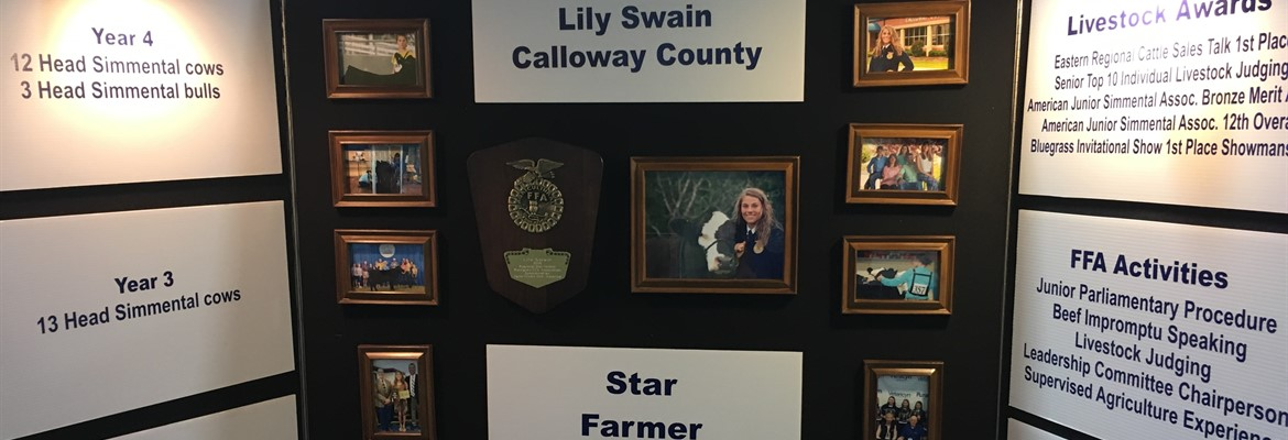 CCHS Graduate Lily Swain's Purchase region Star Farmer Display