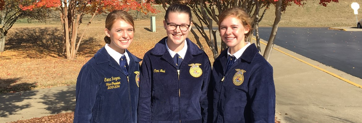 Three freshmen participated in a practice FFA Creed Speaking Event (not a contest).  Great job to the Creed contestants pictured left to right, Jessica Wicker, Cami Neal, and Alyssa Wicker for their work and performance!