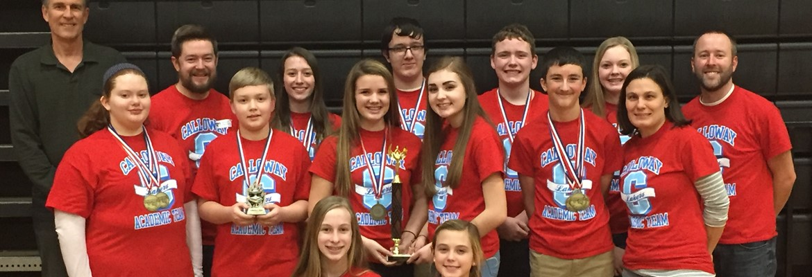 The Calloway County Middle School Academic Team competed in the regional tournament on February 4th at Heath Middle School.  After a great day of competition among 17 schools in the first region, the Lakers were named regional champions for the fourt