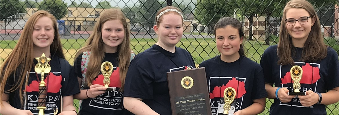 CCMS Future Problem Solving Team placed NINTH in the WORLD in Global Issues Problem Solving (Laken McDaniel, Rheagan Jones, Ellie Whisman, Drake Calhoon) and THIRD in the WORLD in MAGIC Alternate (Madison Duncan).