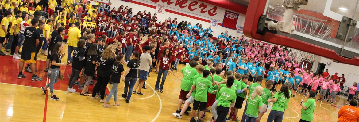 Middle school students participate in one of the many games on the first Crew day.