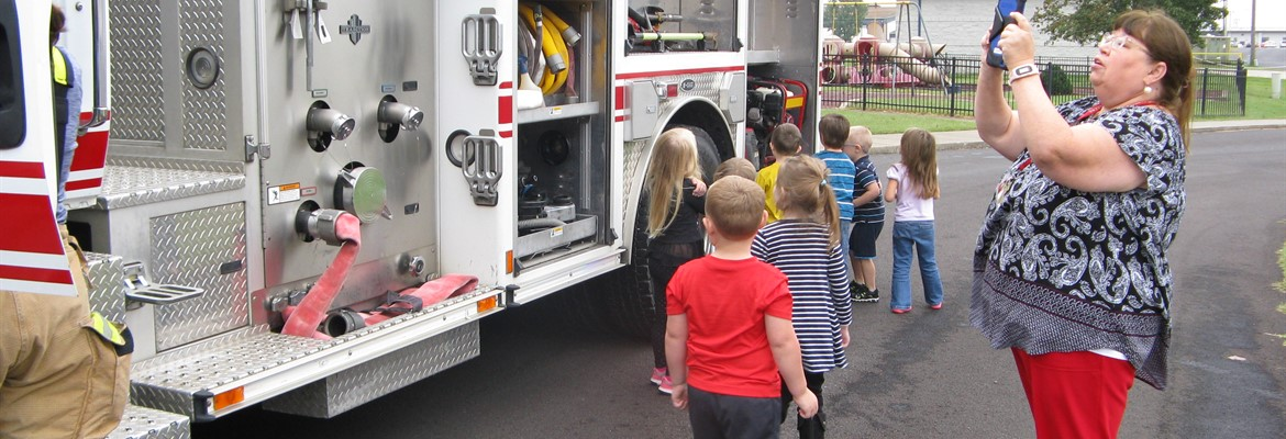 CCPS students were able to get inside and look at a fire truck thanks to the Murray Fire Department.
