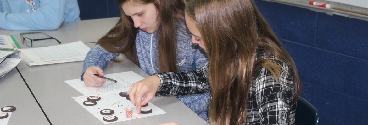 Eighth grade students Kerrigan McManus and Cate Anderson (L to R) create models of animal cells going through the phases of Mitosis.