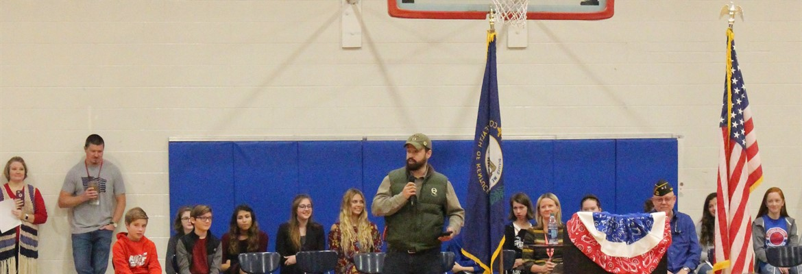 U.S. Army Specialist Jason Medley spoke to the students and guests about his service and what it means to be a Veteran.