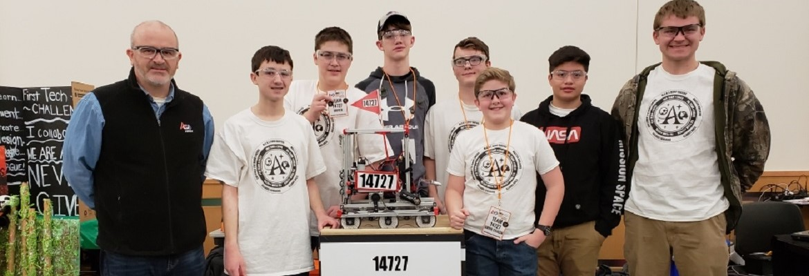 Calloway FIRST Tech Challenge Robotics Team.  Pictured l to r: Coach and CCHS CTE Teacher Jeff Slaton, David Foot, Tyler Helm, Reese Henderson, Austin Ayers, Aiden Edwards, Erick Mendoza, Ethan Edwards.