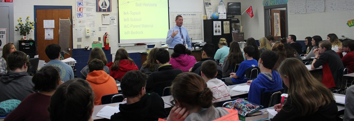 Mr. Jacob Falwell, CCHS Ag teacher, spoke to students in Mrs. Roach's and Mr. Smith's eighth grade science classes about soil and the formation of rocks.