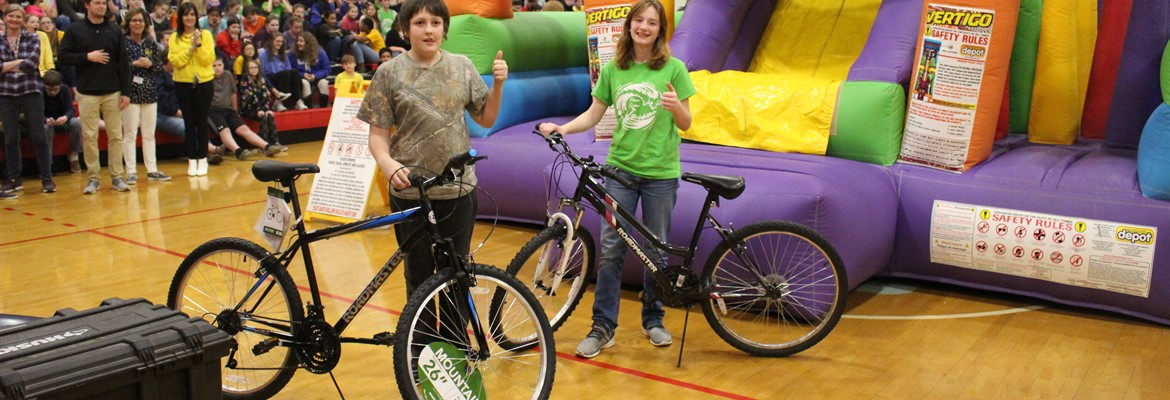 Damian P. and Samantha M. were the proud winners of the bicycles that were awarded for the eight week perfect attendance and breakfast challenge.