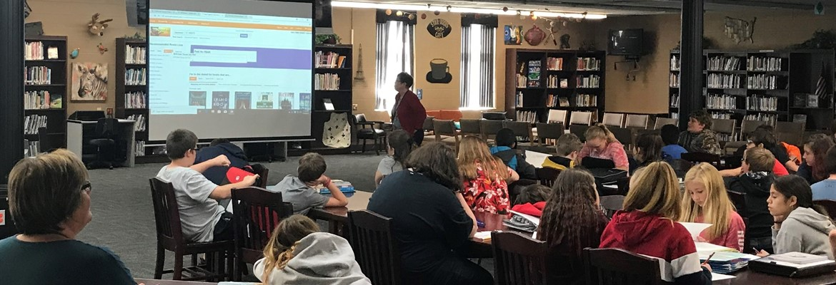 Calloway County Public Library librarian, Sandy Linn, spoke with seventh grade students about resources available to each of them through the public library and the Kentucky Virtual Library.