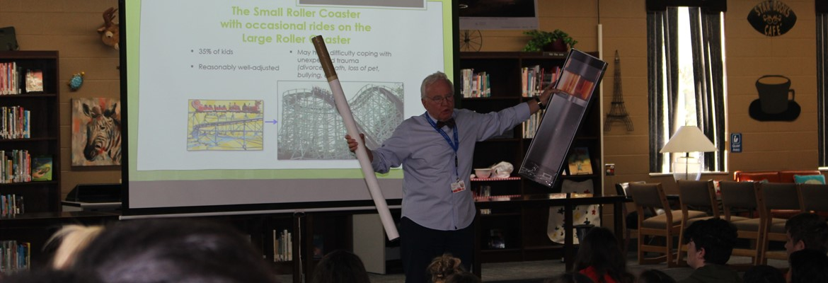 Dr. Patrick Withrow, Director of Outreach, Physician Advisor Baptist Health Paducah, spoke with seventh and eighth grade students about the dangers of vaping and addiction.