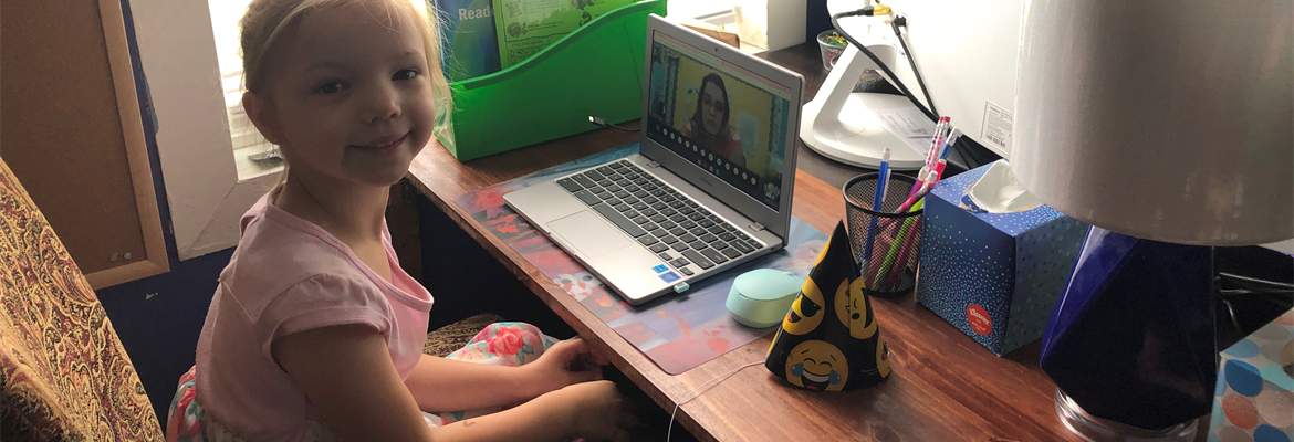 Athena learning remotely with Mrs. Higgins in 1st grade.