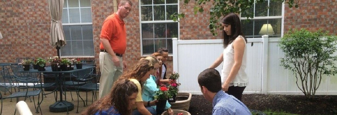 FFA students and Mr. Falwell at Brookdale Assisted Living doing some landscaping.