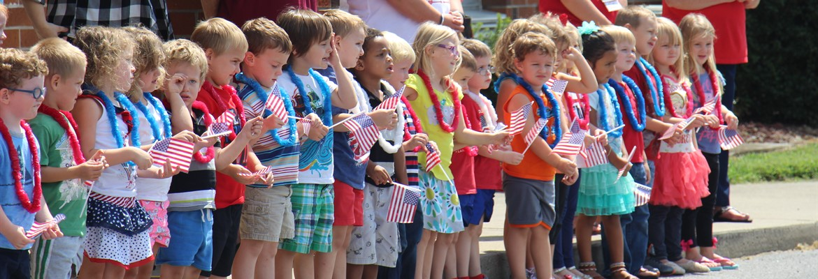 Preschoolers at the flag ceremony