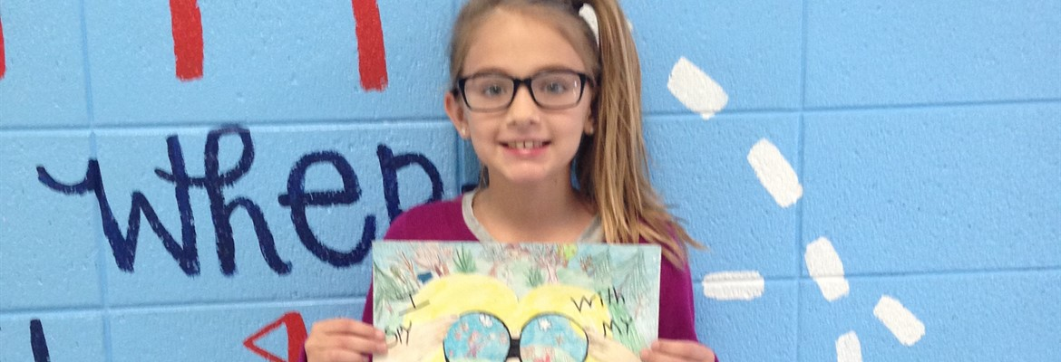 Molli Underhill and her winning poster for the Conservation District poster contest.  2nd year in a row for Molli to win!