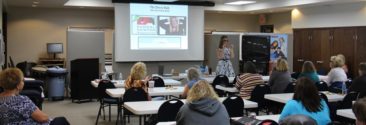 Tami West, Speaker/Author/Trainer, spoke to food service staff during summer recertification on handling stress in the workplace.