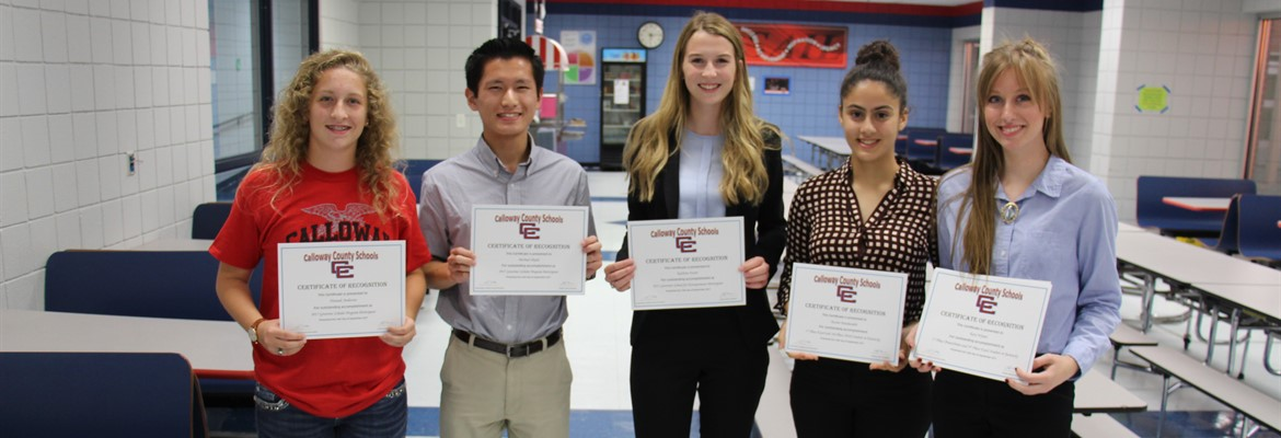 CCHS students were recognized at the board of education's September meeting.  Pictured left to right are Governor's Scholars Hannah Anderson, Michael Okuda, FBLA President and Governor's School for Entrepreneurs attendee Kathryn Foster, Auzine Panahandeh--1st Place Excel 2016 and 3rd Place Word 2016 at the state and Katy Wyant--1st Place PowerPoint 2016 and 2nd Place Excel 2016 at the state.