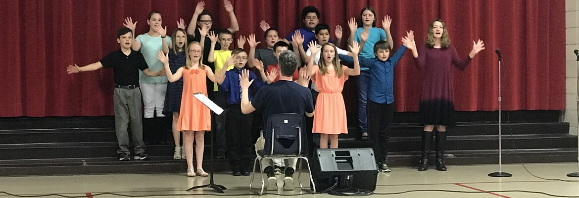 East Elementary 4th and 5th grade students performed a few of their songs from their Spring Concert at the April board of education meeting.